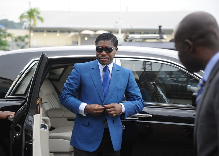 Teodorin arrives at Malabo stadium for ceremonies celebrating his 41st birthday. June 24, 2013.