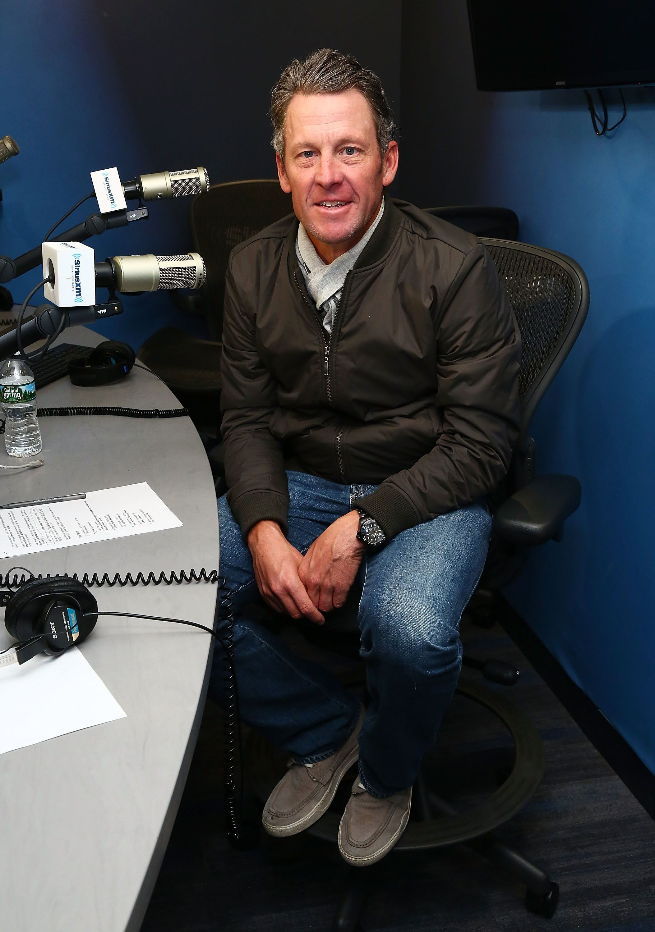 NEW YORK, NY - MARCH 06:  (EXCLUSIVE COVERAGE) Former professional road racing cyclist Lance Armstrong visits the SiriusXM Studios on March 6, 2017 in New York City.  (Photo by Astrid Stawiarz/Getty Images)