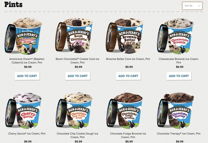 A look at the Ben & Jerry's ice cream pint online store.