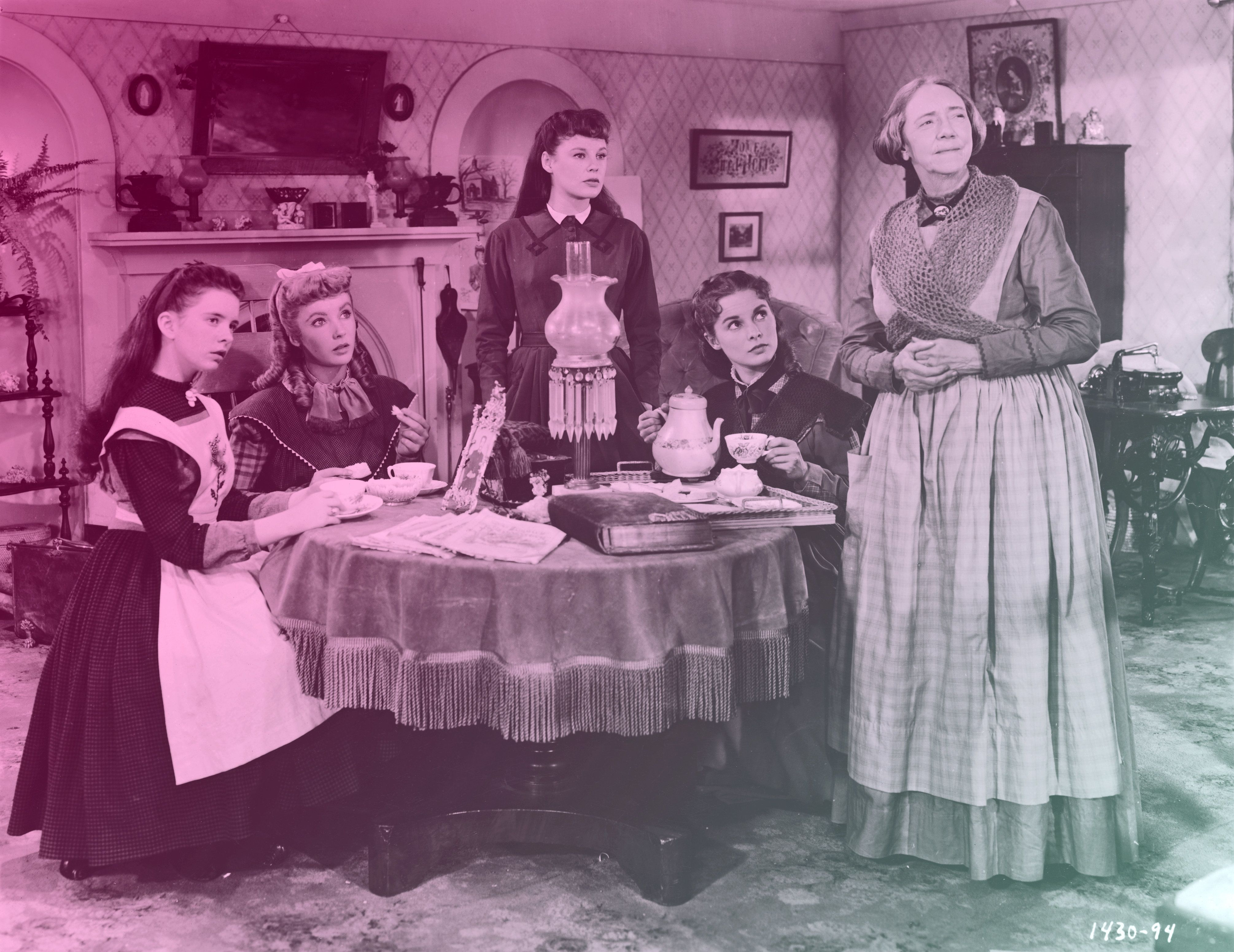 Actresses (left to right) Margaret O'Brien, Elizabeth Taylor, June Allyson, Janet Leigh and Lucile Watson in character as the