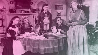 Actresses (left to right) Margaret O'Brien, Elizabeth Taylor, June Allyson, Janet Leigh, and Lucile Watson (1879 - 1962) in character as the March women drinking tea on the set of a film adaptation of Louisa May Alcott's 'Little Women' directed by Mervyn LeRoy, 1949. (Photo by MGM Studis/Courtesy of Getty Images)