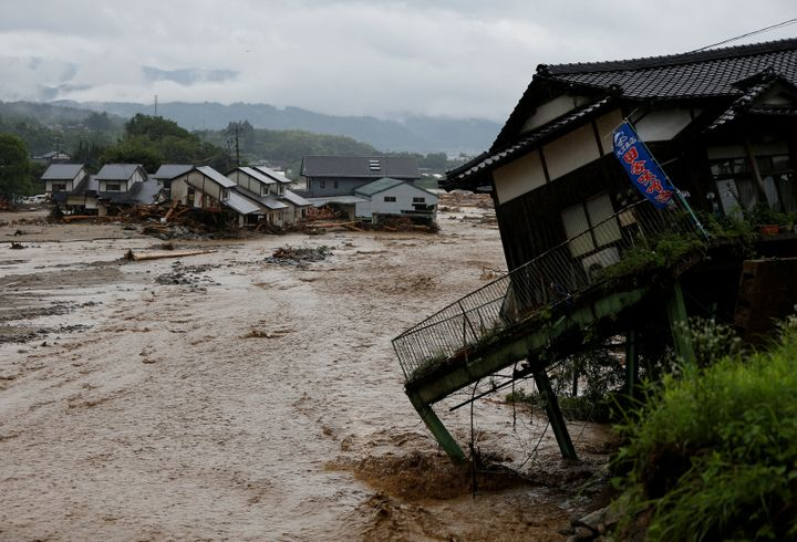 Destroyed houses are seen at an area hit by heavy rain at Haki district in Asakura, Fukuoka Prefecture, Japan.