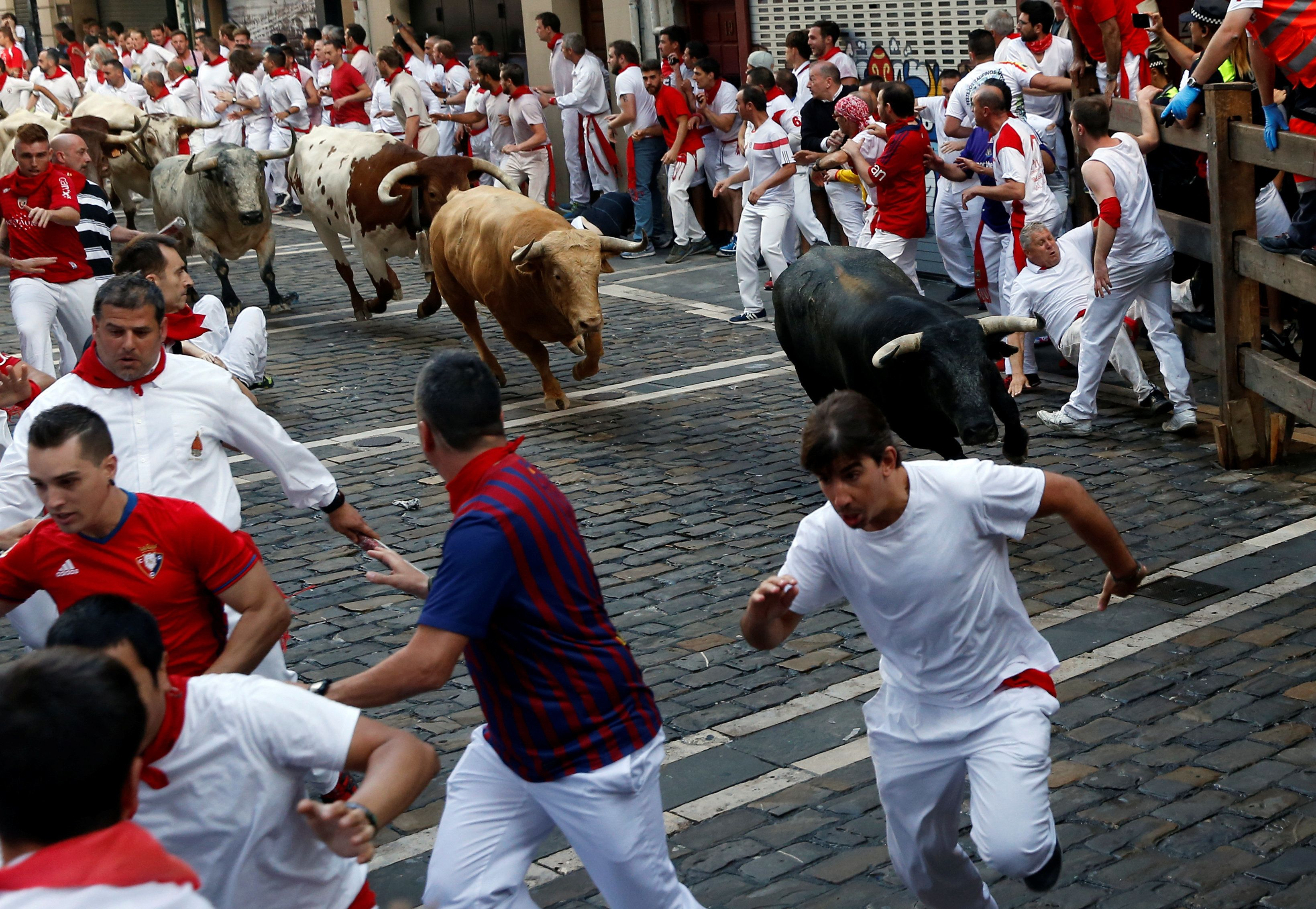 Runners sprint ahead of bulls during the first running of the bulls at the San Fermin festival in Pamplona, northern Spain, July 7, 2017. REUTERS/Susana Vera