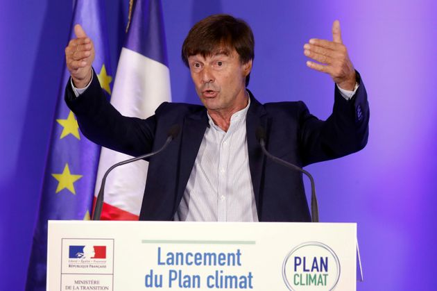French Minister of Ecological and Social Transition Nicolas Hulot speaks during a news conference to...