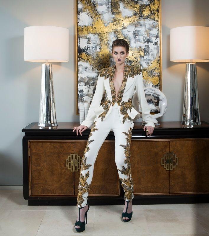 "<a rel=""nofollow"" href=""https://shopeseazenabor.com/"" target=""_blank"">Esé Azénabor </a>custom beaded pant suit from the Woma"