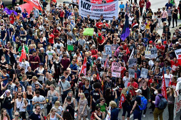 Protesters participate in a peaceful anti-G20