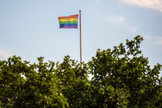 Rainbow flag flying at Somerset