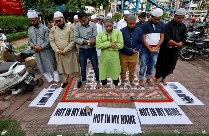 Muslims offer prayers and protest against mob lynchings in Kolkata, India, June 28 2017.