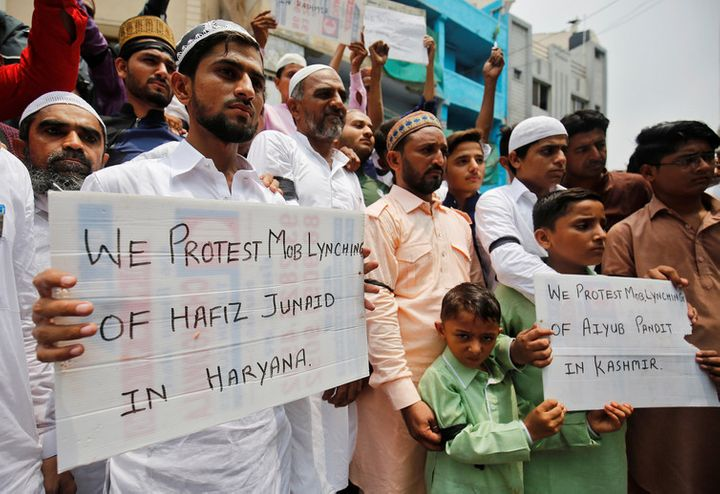 Muslims protest against the recent cases of mob lynching, Ahmedabad, June 26, 2017.