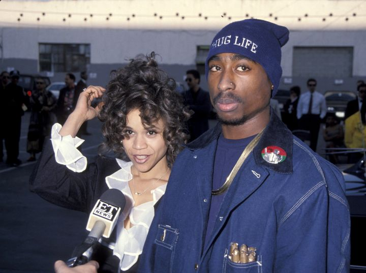 Rosie Perez and Tupac Shakur attend the  1993 Soul Train Music Awards.