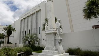 July 14, 2015 - Tampa, Florida, U.S. - Photo by JAMES BORCHUCK  |  Times ..The Confederate Memorial is near the entrance to the Hillsborough County Courthouse at 419 Pierce St. in downtown Tampa. (Credit Image: � James Borchuck/Tampa Bay Times/ZUMA Wire)