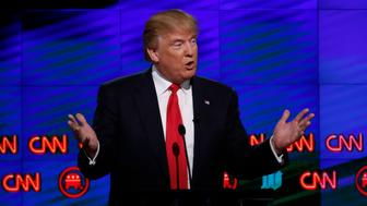 Republican Presidential candidate Donald Trump speaks during the CNN Debate in Miami on March 10, 2016. / AFP / RHONA WISE        (Photo credit should read RHONA WISE/AFP/Getty Images)