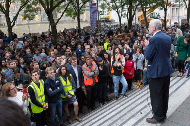 Jeremy Corbyn at a Momentum event in central