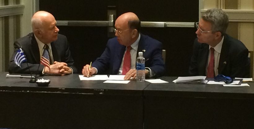 Greek Economy Minister Papadimitriou, Commerce Secretary Wilbur Ross, and Ambassador Geoffrey Pyatt, June 20.