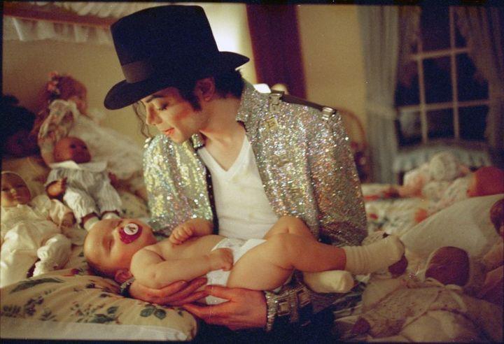<p>Michael Jackson with son Prince Michael, Neverland, California, 1997.</p>
