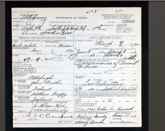 Sadie's death certificate