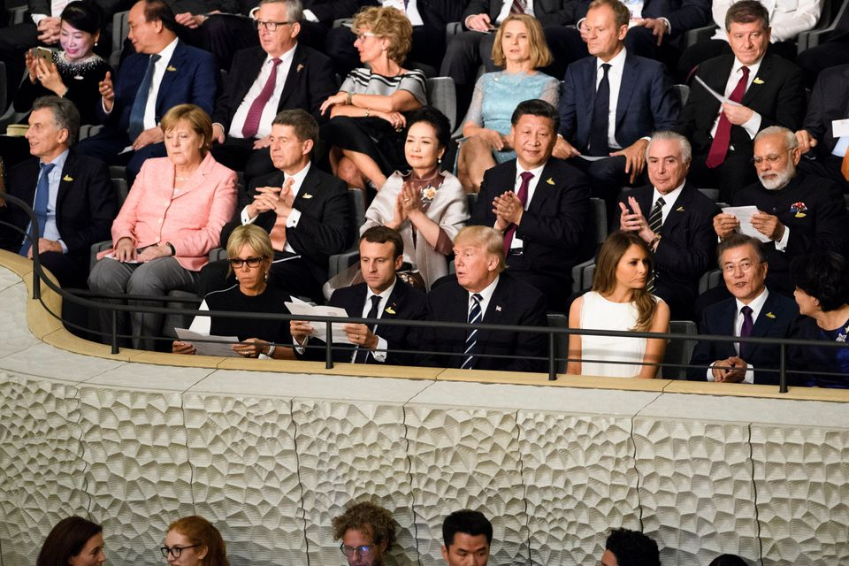 G-20 membersattend a concert at the Elbphilharmonie philharmonic concert hall in Hamburg, Germany,...