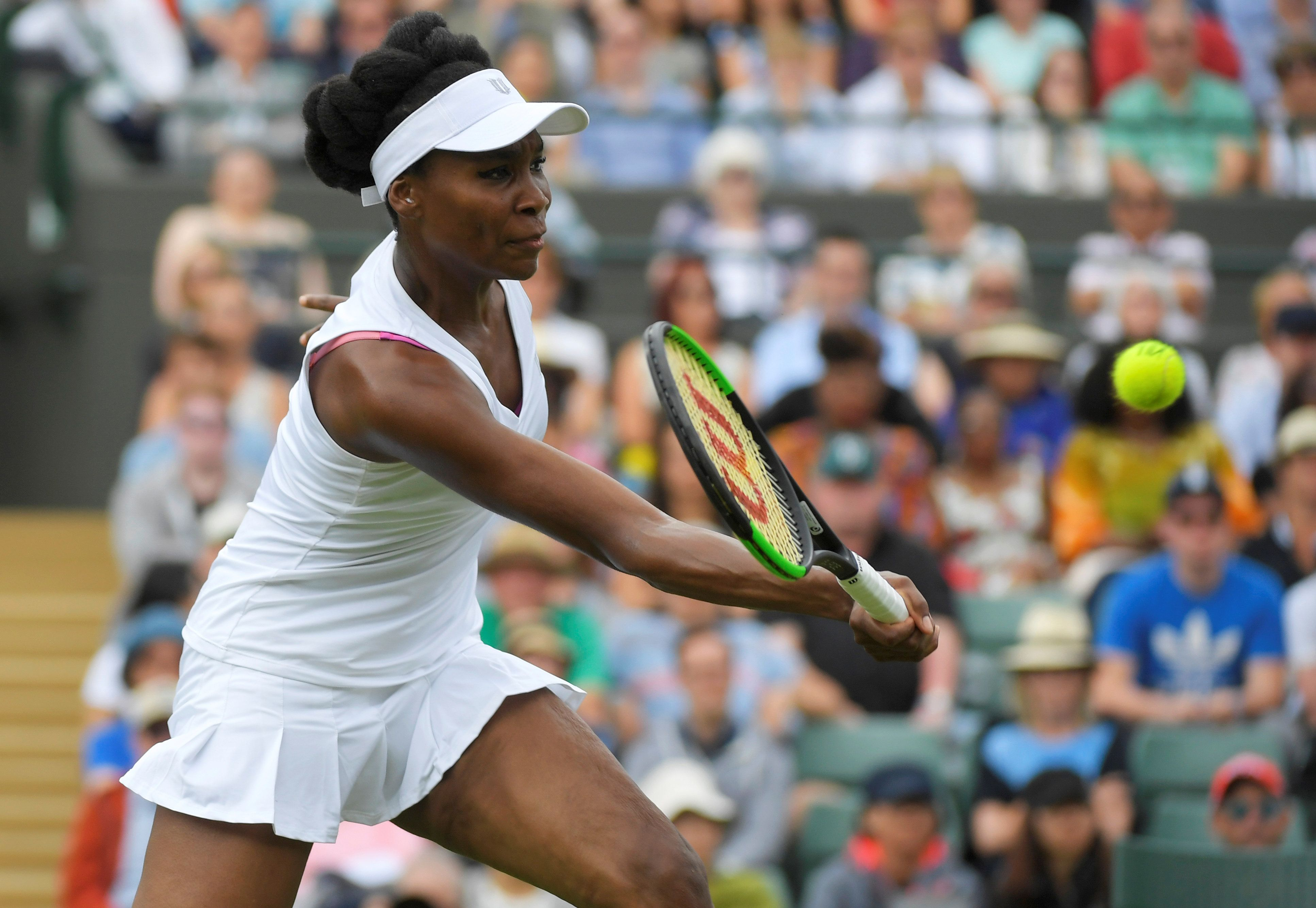 Tennis - Wimbledon - London, Britain - July 3, 2017   USA's Venus Williams in action during her first round match against Belgium's Elise Mertens    REUTERS/Toby Melville