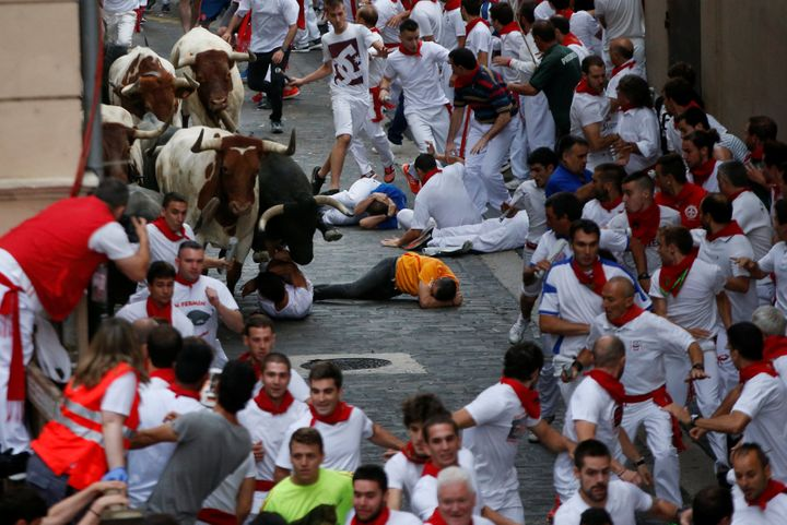 Four Americans have been gored during the first two days of the San Fermin running of the bulls in Pamplona, northern Spain.