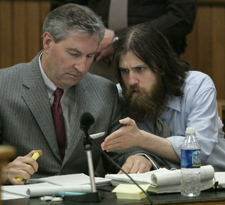 Convicted murderer William Morva, right, talks with his attorney Tony Anderson, in Washington County Circuit Court in Abingd