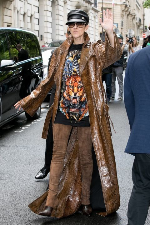 Who knew brown could look so becoming? Celine in Balmain...