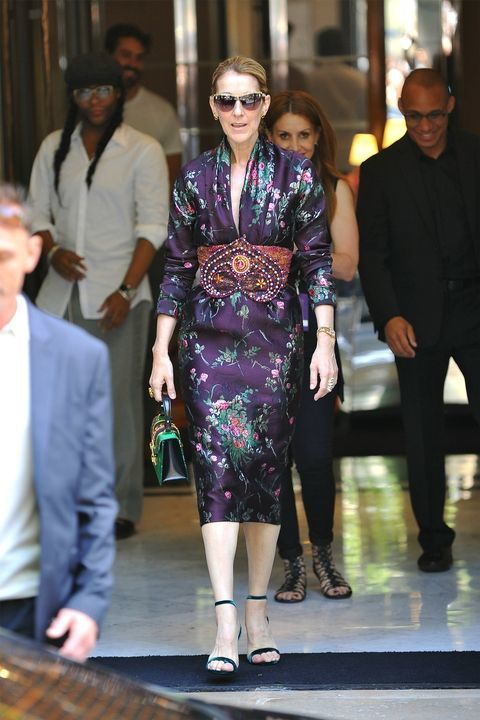 Looking calm and collected in a floral Gucci dress.
