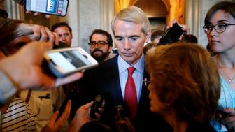 Senator Rob Portman (R-OH) speaks to reporters about the Senate healthcare bill on Capitol Hill in Washington, U.S., June 29, 2017.   REUTERS/Joshua Roberts