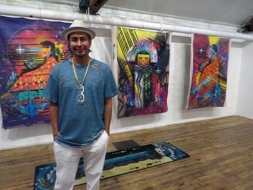 Randy L. Barton with new works exhibited in Las Vegas Culture Pop Up at The Arts Factory, July 2017.