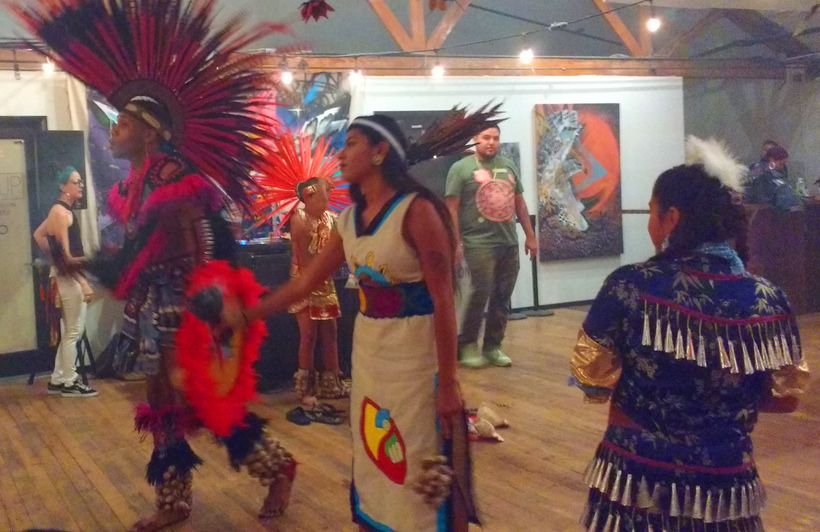 <em>Danza Azteca perform </em>in Las Vegas Culture Pop Up at The Arts Factory, July 2017.
