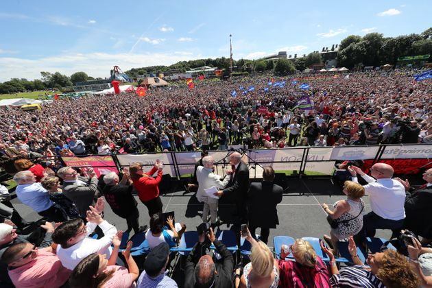 Labour leader Jeremy Corbyn addresses the crowd during the Durham Miners' Gala at Durham Old