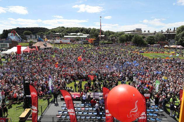 The crowd during the Durham Miners' Gala at Durham Old