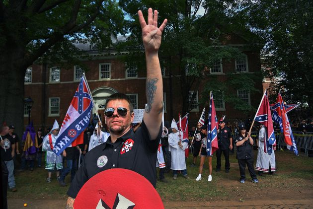 <strong>A KKK group from North Carolina called the Loyal White Knights protested in Justice