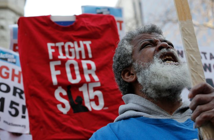 "Fast-food workers with the ""Fight for $15"" campaign have demanded a $15 minimum wage and union representation."