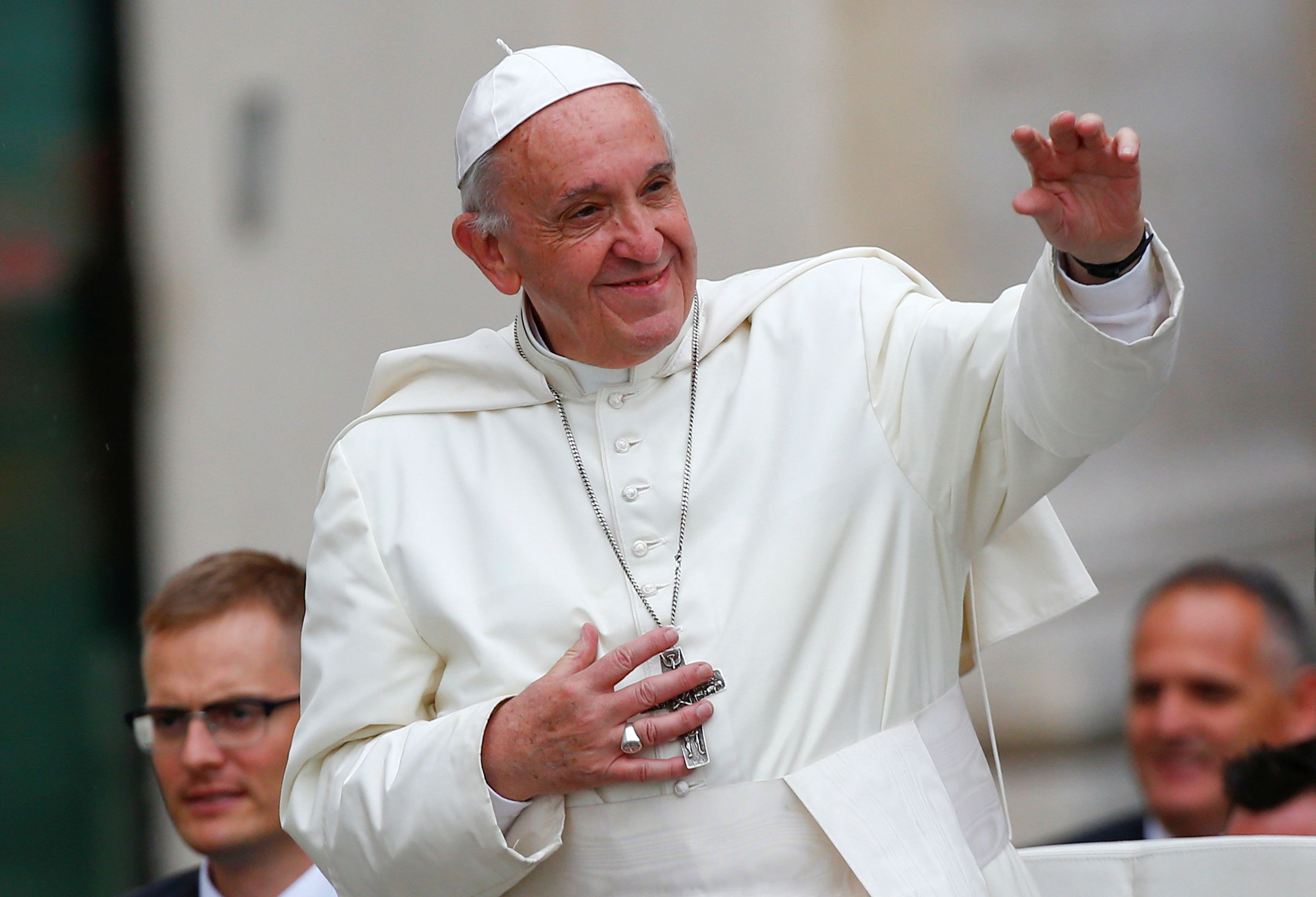 Pope Francis, seen outside the Vatican, has warned that the G20 leaders have formed