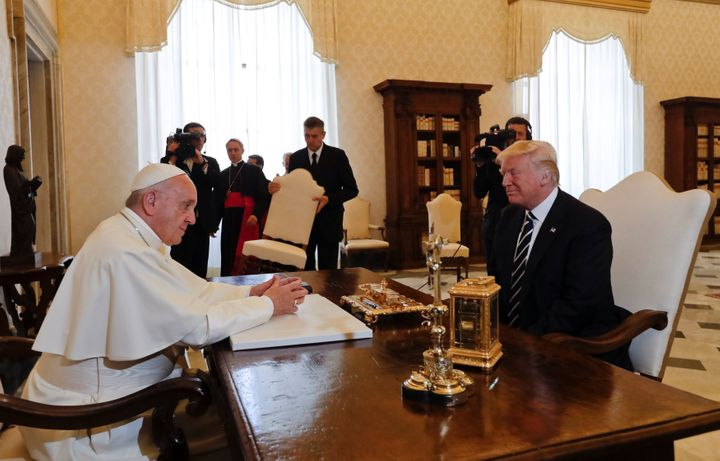 "The pope has been critical of President Trump's handling of immigration, at one time saying he is ""not Christian."""