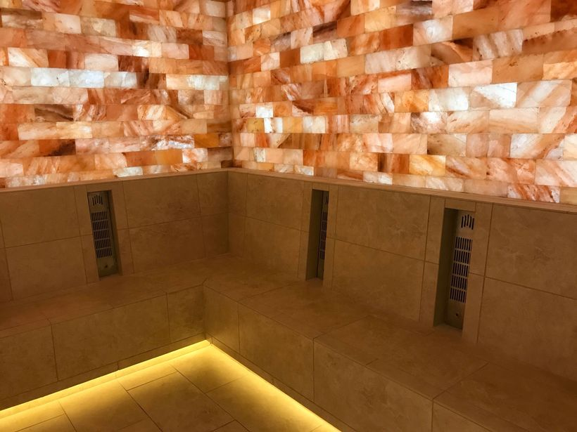 This room is comprised of 5,000 year old Himalayan salt from India, proven to help combat daily exposure to positive ions, st
