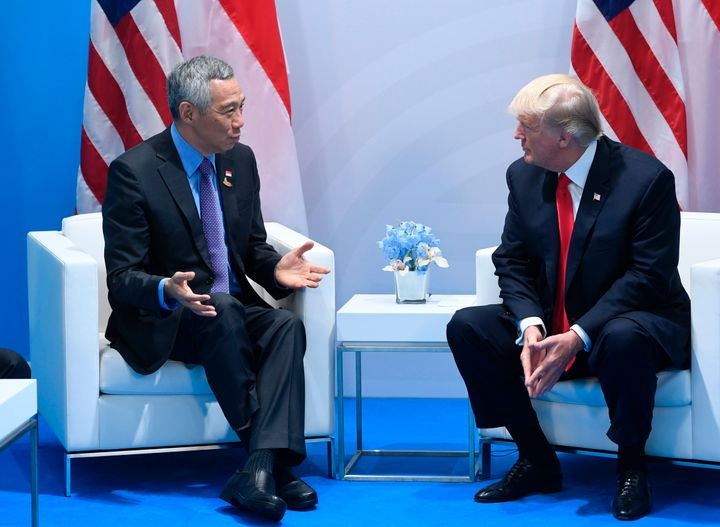President Trump's personal Instagram account confused Singapore's Prime Minister Lee Hsien Loong, pictured left, withIn