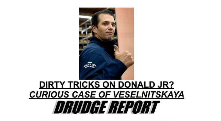 Conservative firebrand Matt Drudge's news aggregation site made Trump Jr.'s defense the site's lead story on Sunday morning.