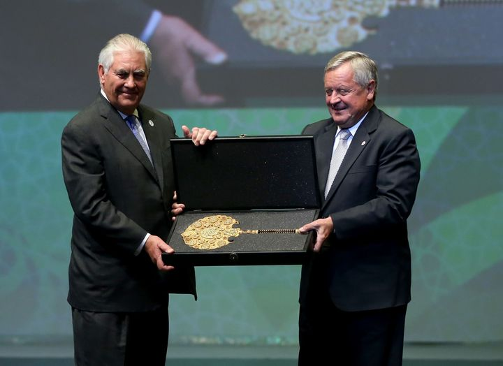 Tillerson received the Dewhurst Award, the highest recognition of the World Petroleum Council, from President Jozsef Laszlo T