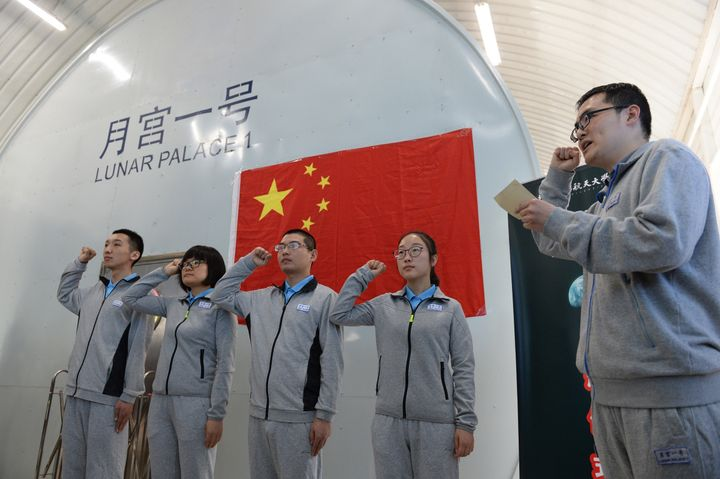 Four students from Beijing University of Aeronautics and Astronautics entered the Lunar Palace-1 with the aim of living self-