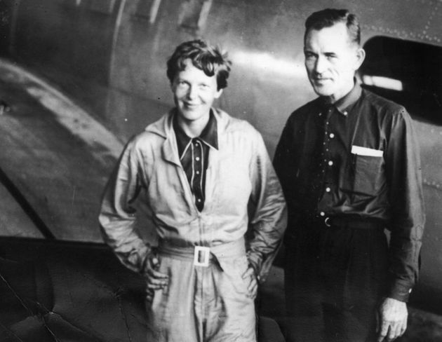 Amelia Earhart with her navigator Captain Fred Noonan, pictured in Brazil in June