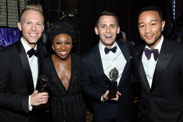 Justin Paul, Cynthia Erivo, Benj Pasek and John Legend backstage at the 2017 Tony Awards