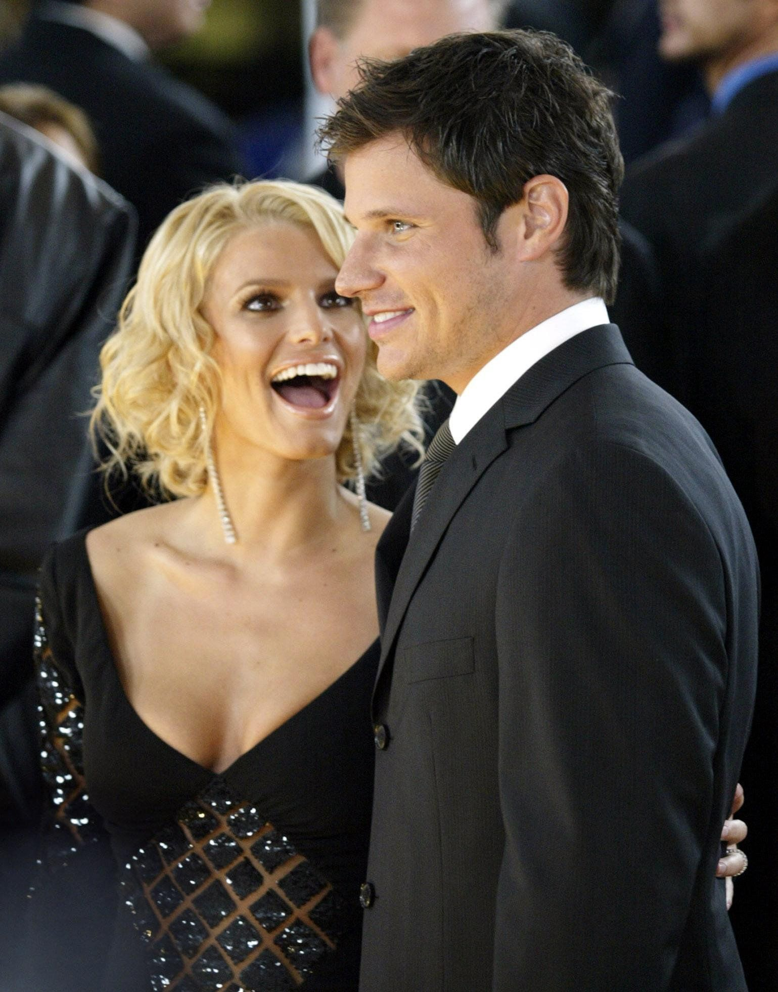 Singers and reality-TV stars Jessica Simpson and her husband Nick Lachey arrive.