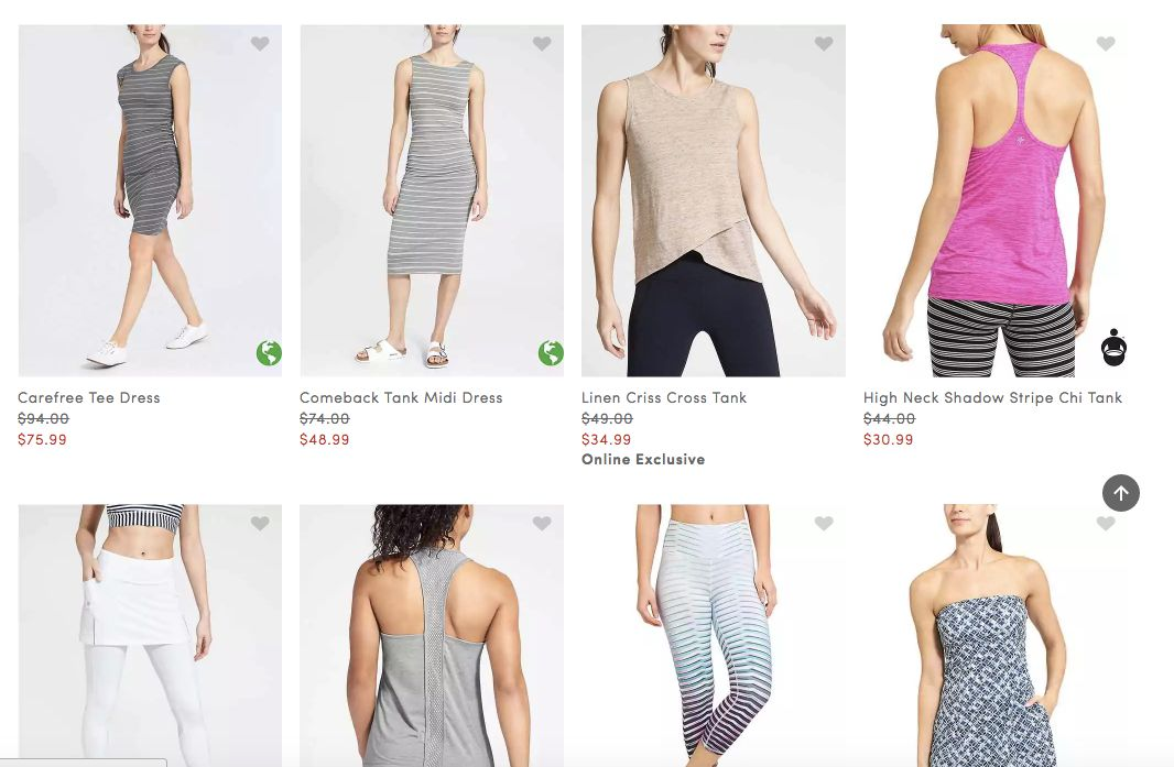 A sampling of Athleta's plus-size section.