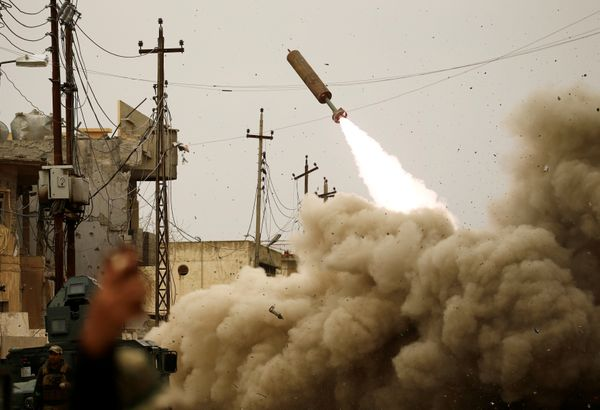 Iraqi rapid response members fire a missile against Islamic State militants on March 11, 2017.