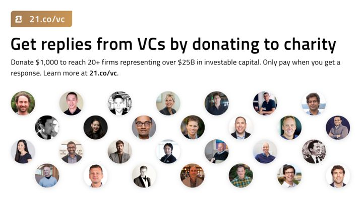 <p>21.co list of VCs donating to charity</p>