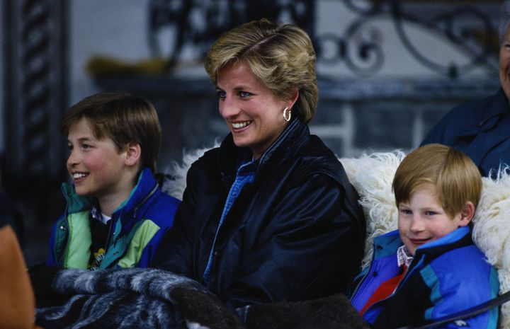 Princess Diana with her sons, Prince William (L) and Prince Harry (R), in Austria.