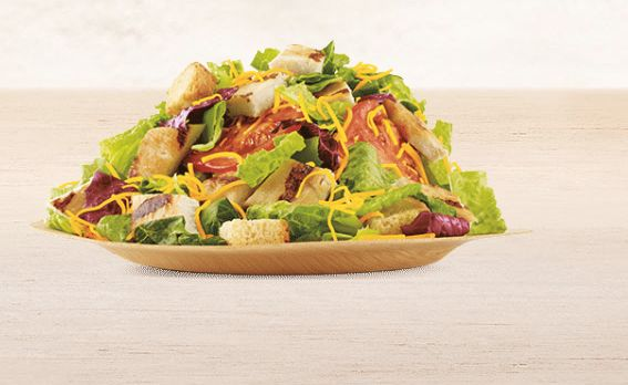 <strong>Ingredients:</strong> mix of greens -- green romaine, green leaf and radicchio lettuce -- tomatoes, shredded cheese,