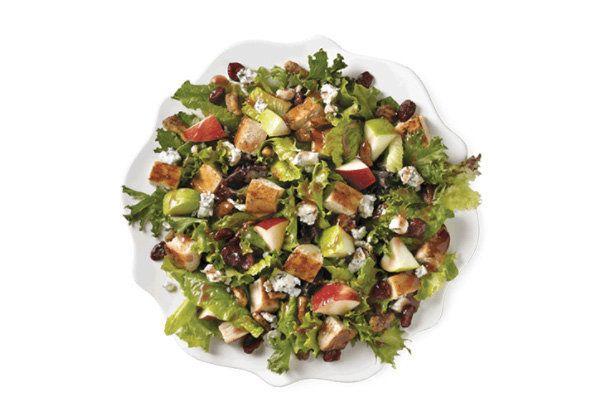<strong>Ingredients:</strong> red and green apples, crumbled blue cheese, sweet cranberries, roasted pecans, warm grille