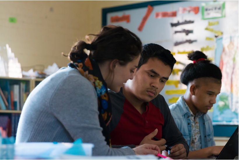 <em>In Massachusetts, 1 in 5 students is an English learner like the author (center). Photo credit: M. Brennan Photography.</
